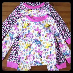 4 Pc Pajama Set Unicorns Leopard Animal Print Pink